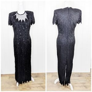 Vintage Stenay Silk Beaded Sequin Formal Gown